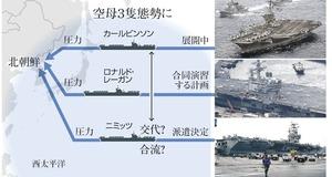 米空母3隻目、西太平洋派遣へ 北朝鮮抑止へ異例の展開
