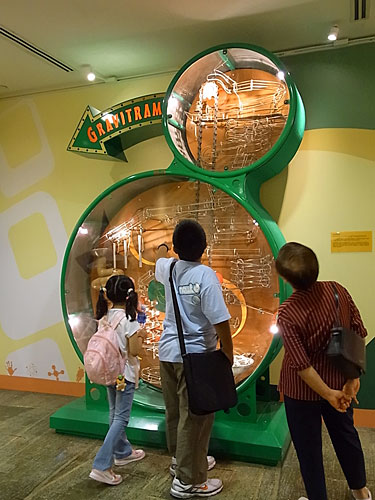 写真:サイエンス・センターの中。慣性の法則を紹介しているようでした。子どもよりもお年寄りが好んで見ているようです