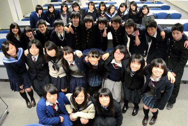 びわこ総文の開催に向けて集まった生徒実行委員会のメンバー=2013年12月、大津市