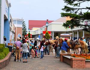 南千歳駅にほど近い「千歳アウトレットモール・レラ」。馬と触れ合うイベントなども催されている=北海道千歳市