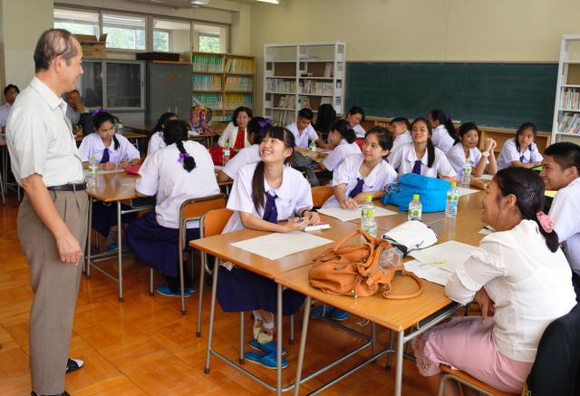 歓迎会後、タイの高校生は日本の教育制度についても学んだ=大子清流高