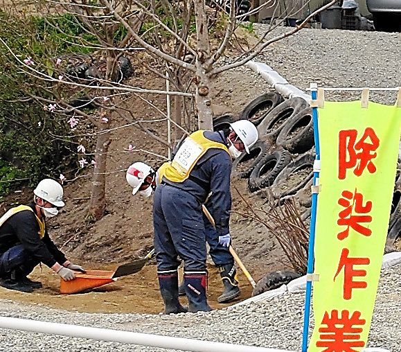 住宅の庭先で行われる除染作業=2013年4月、福島県伊達市