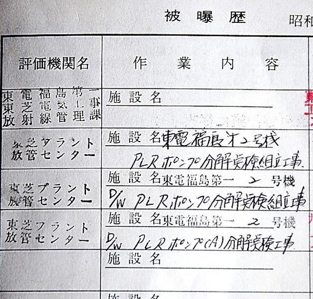 放射線管理手帳に「福島第一」