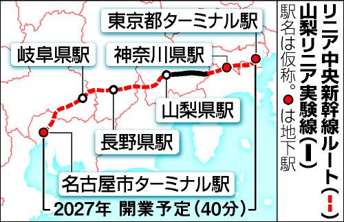 リニア中央新幹線ルートと山梨リニア実験線の地図