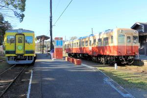 小湊鉄道(右)といすみ鉄道の列車が並ぶ=千葉県大多喜町