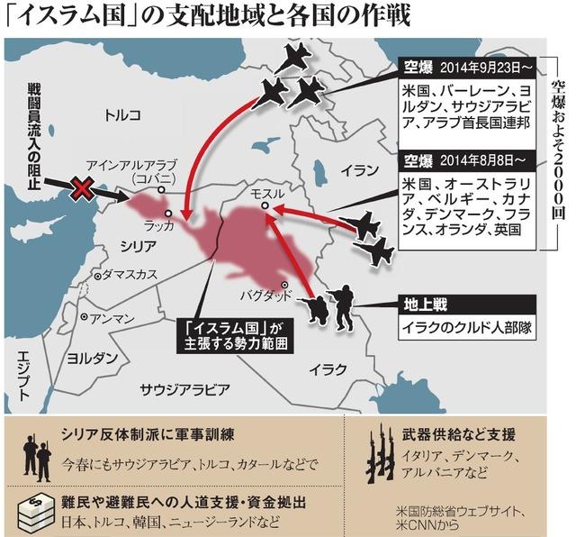 「イスラム国」の支配地域と各国の作戦