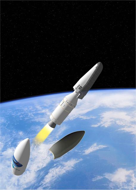 写真・図版 無人実験機「IXV」のイメージ図=欧州宇宙機関(ESA)提供 前へ 次... 大気圏