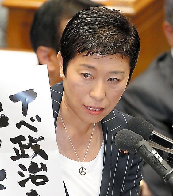7月15日の衆院特別委で、安保関連法案の採決を前に質問する民主党の辻元清美氏