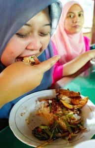 アスリでプルチン・カンクンなどをご飯と一緒に食べるマレーシア人の観光客ら。右手でつかんで食べるのが流儀だ=ロンボク島、古谷祐伸撮影