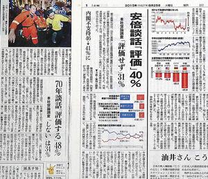 世論調査の結果を伝える朝日新聞(右)と読売新聞(左)の1面。朝日新聞の8月の世論調査では、安保関連法案に賛成は30%、反対は51%だった。設問は「集団的自衛権を使えるようにしたり、自衛隊の海外活動を広げたりする安全保障関連法案に、賛成ですか、反対ですか」