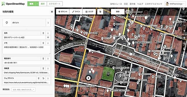 東京・調布駅周辺でAEDが設置されている場所が書き込まれた地図。施設の電話番号や休館日などの情報も書き込まれている