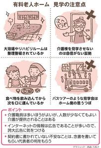 有料老人ホーム、見学の注意点/ポイント<グラフィック・西森万希子>