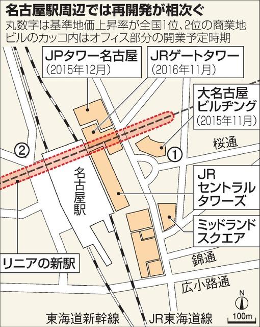 名古屋駅周辺では再開発が相次ぐ