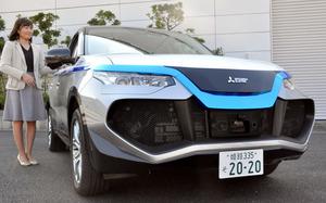 三菱電機が公開した自動運転車の試作車。物体との距離を測るミリ波レーダーや夜間でも人物を検知できる赤外線カメラなどを搭載している=神奈川県鎌倉市