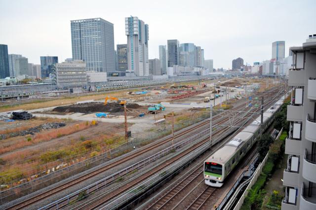 JR東日本が再開発を計画する品川車両基地跡=東京都港区、細沢礼輝撮影