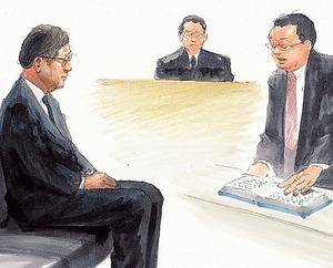 検察官の冒頭陳述を聞く青柳幸一元教授=10日午前、東京地裁、絵と構成・小柳景義