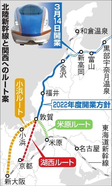 北陸新幹線と関西へのルート案