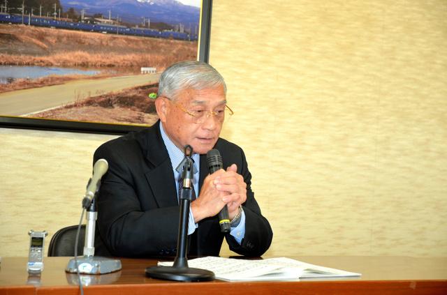遠藤忠・矢板市長が今期限りの退任を表明した=矢板市役所