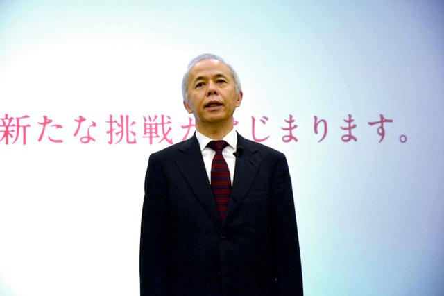 記者発表に臨む東京電力の広瀬直己社長=2015年8月、東電本店