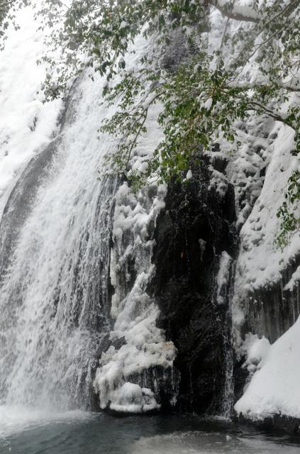 滝の一部が凍り、手前の滝つぼにも薄い氷が張った=三次市甲奴町の品の滝