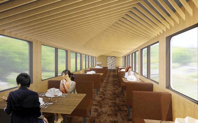 西武鉄道が運行する観光電車の内装のイメージ(西武鉄道提供)