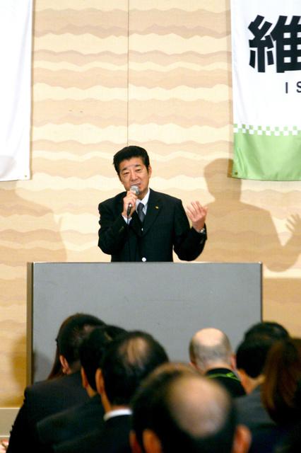 大阪維新の会の「維新政治塾」開講式であいさつする松井一郎代表=大阪市北区