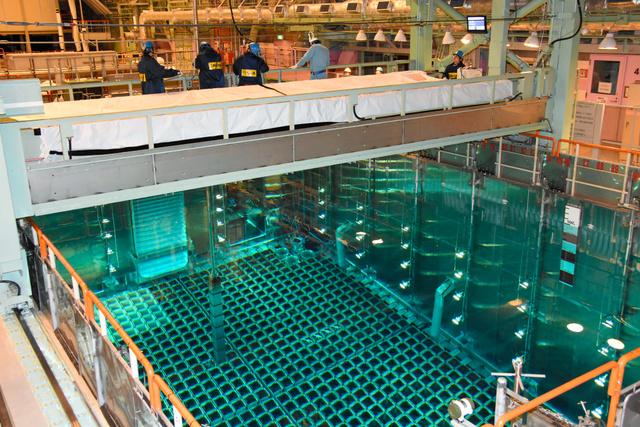 保管プールからクレーンで取り出される関西電力高浜原発4号機の核燃料=福井県高浜町、代表撮影