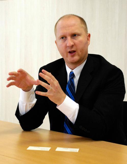 米フィンテック企業「R3CEV」のティム・スワンソン主任研究員=昨年12月、東京都内で