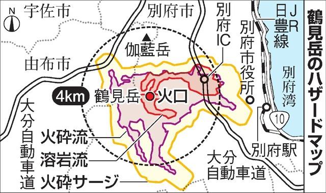 鶴見岳のハザードマップ