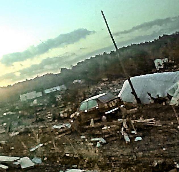 震災翌朝、大熊町内で撮った