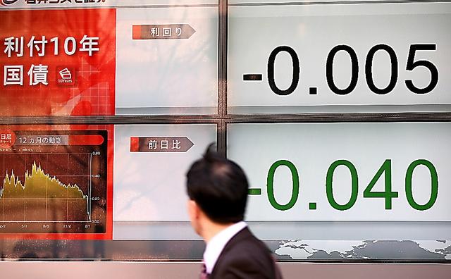 満期10年の国債利回りが一時、マイナスとなったことを示すボード=9日午後0時36分、東京都中央区、関田航撮影