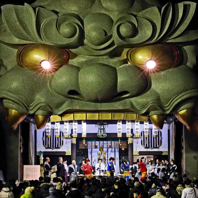 難波八阪神社の獅子殿=大阪市浪速区、高橋雄大撮影