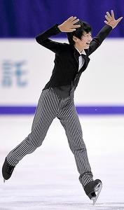 全日本選手権の男子フリーで演技する島田高志郎=白井伸洋撮影