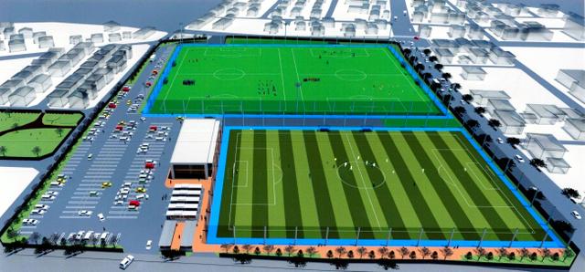 矢板市が県協会へ提出したセンターのイメージ図。手前が天然芝サッカー場=矢板市提供