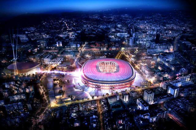 日建設計が改修のデザインを担当することになったバルセロナのスタジアム「新カンプノウ」(バルセロナ提供)