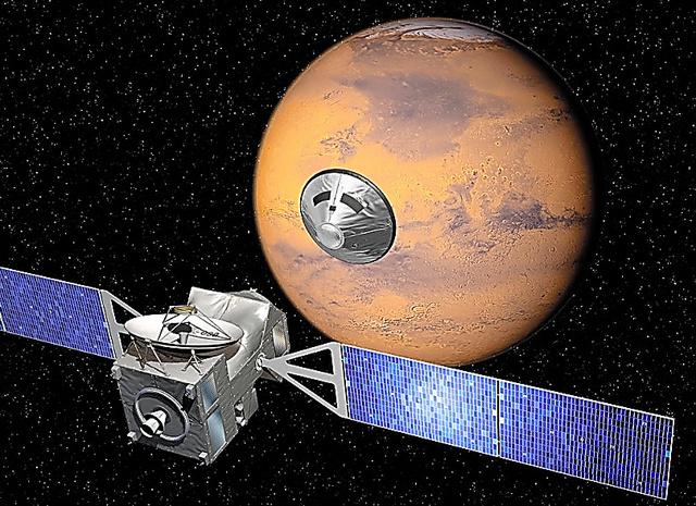 探査機が火星に近づいたときの想像図=欧州宇宙機関(ESA)提供