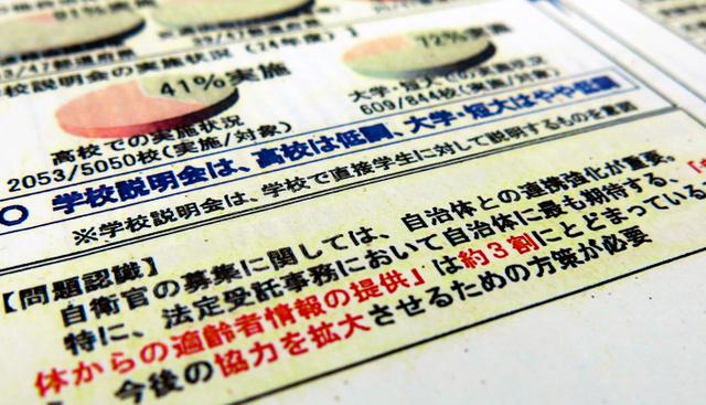 2013年に防衛省内であった会議資料では自治体からの適齢者情報(名簿)の提供について「協力を拡大させるための方策が必要」とされている