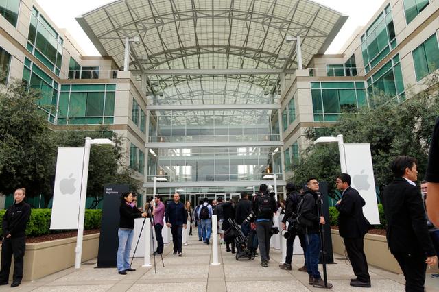 写真1 今回の発表会は、米カリフォルニア州にあるアップル本社内で行われた