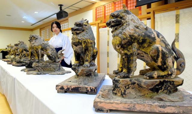 春日大社の本殿前にあったものとされる獅子・狛犬像=23日午後、奈良市春日野町、加藤諒撮影