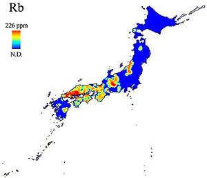 ルビジウムの分布図=東京理科大、高輝度光科学研究センター提供