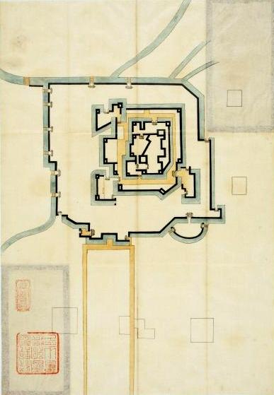 「諸国古城之図」の中の「大坂惣構(総構)」の図。南東に突出した真田丸(右下)は半円形だ=広島市立図書館蔵