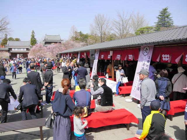 初日から大勢の観光客らが詰めかけ、にぎわいを見せる上田城真田茶屋=上田市の上田城跡公園