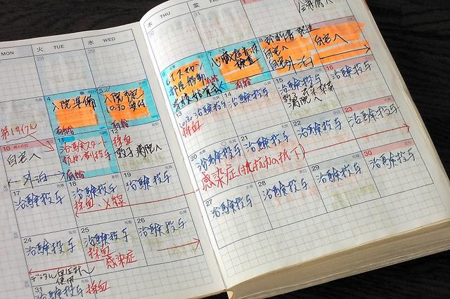肺がん治療の記録を書き込んだ手帳=「働く・前編」から