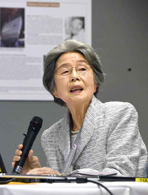 メディア関係者に被爆体験を話す梶本淑子さん=9日、広島市中区、遠藤真梨撮影