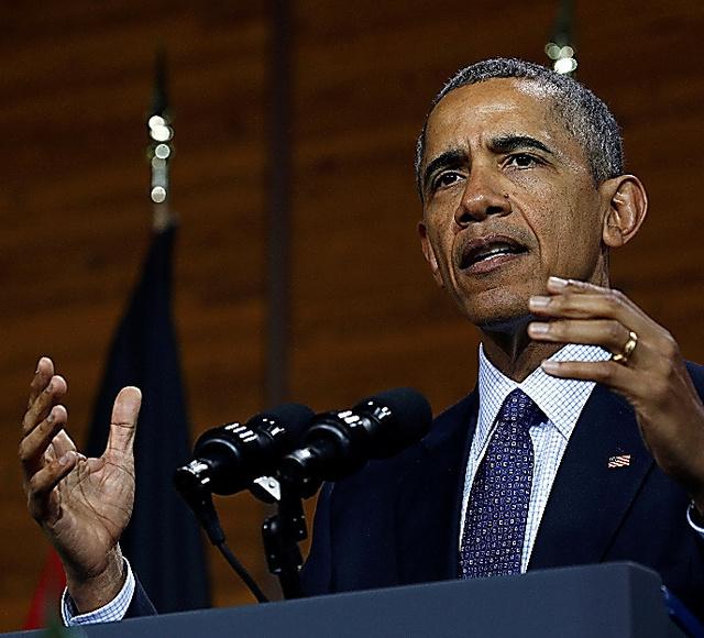 ドイツ北部ハノーバーで25日、演説するオバマ米大統領=ロイター