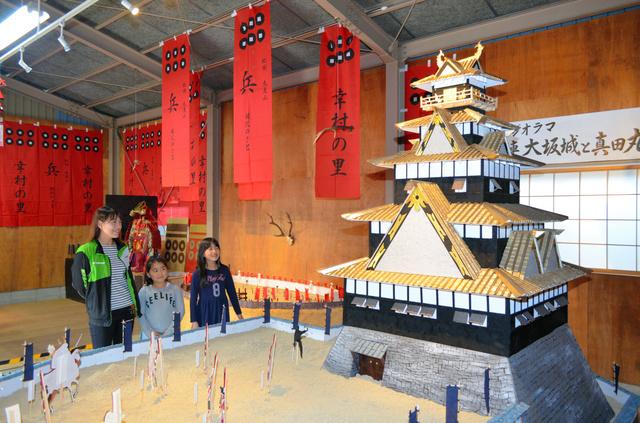 大坂城のジオラマを見上げる来場者ら=九度山町九度山