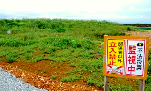 県の農地整備事業で、基準値を上回る汚染物質が見つかった現場=25日、読谷村座喜味