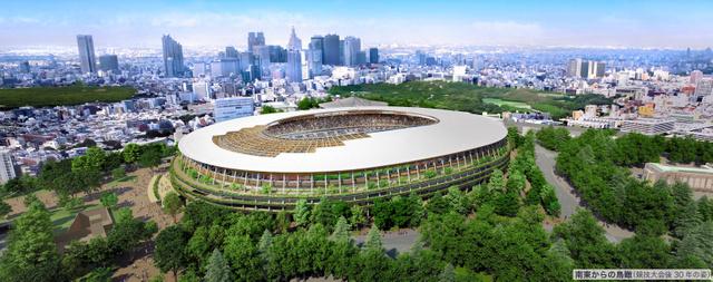 新国立競技場の外観イメージ図(南東側から)=技術提案書から。日本スポーツ振興センター提供