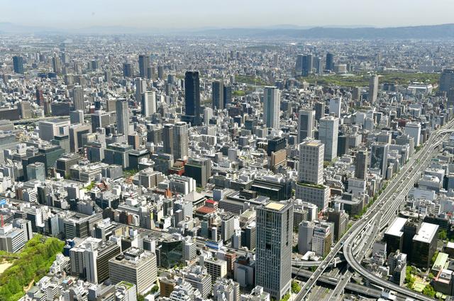 空から見た大阪・船場地区とその周辺=大阪市中央区、朝日新聞社ヘリから、伊藤進之介撮影