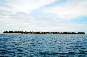 高地がなく平べったいタロ島は、津波に弱いと判断された=郷富佐子撮影